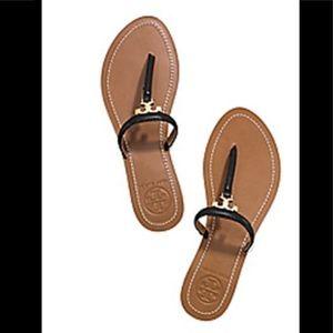Tory Burch Black T Logo Flat Thong Sandal 9.5